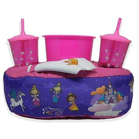 Kit Pipoca com Almofada e Copos - Princesas Encantadas