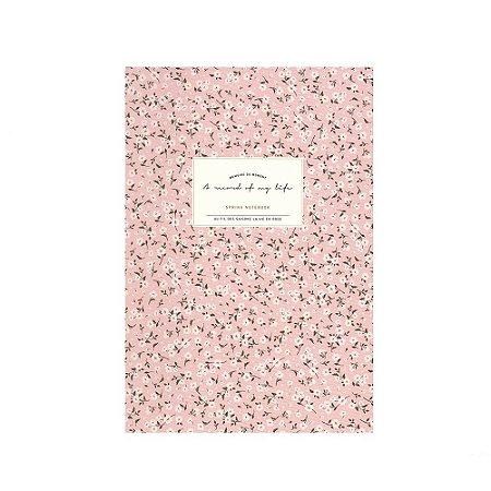 Caderno Brochura com Pauta Floral Rosa