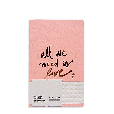 Caderno Flexível Love Rosa Pontilhado