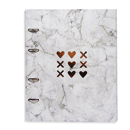 Caderno Fichário Love Marmorizado
