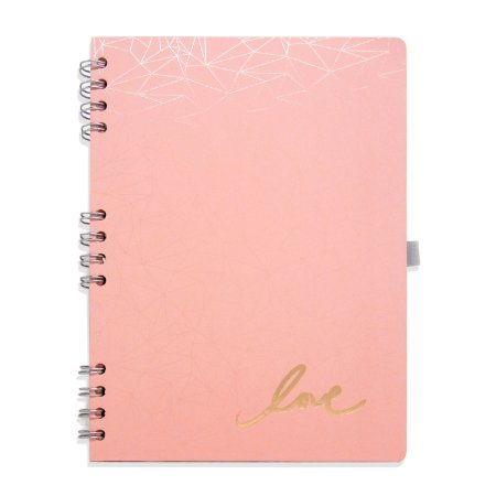 Caderno Espiral Love Rosa