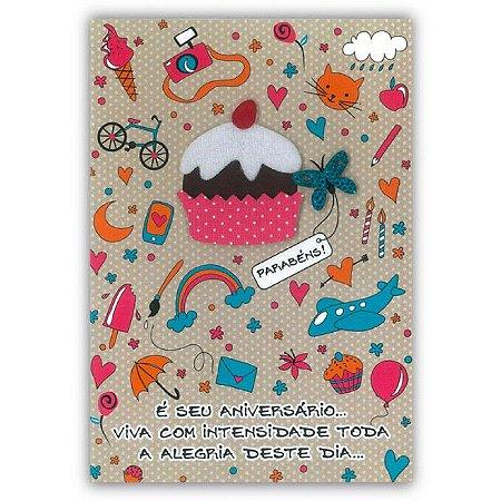Cartão Aniversário Vida Boa Pequeno