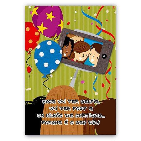 Cartão Aniversário Selfie Pequeno