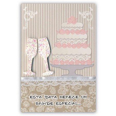 Cartão Casamento Taças com Bolo Pequeno