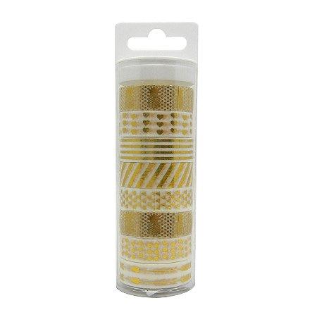 Conjunto Washi Tape 8 Unidades Dourada