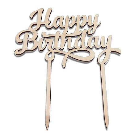Topper para Bolo em MDF Happy Birthday
