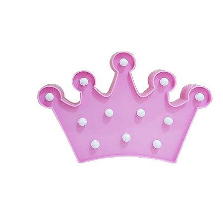 Luminária Coroa de Led Rosa
