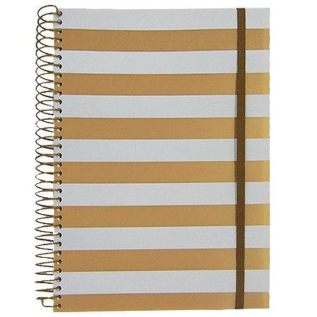 Caderno Universitário 96 Folhas listras Ouro