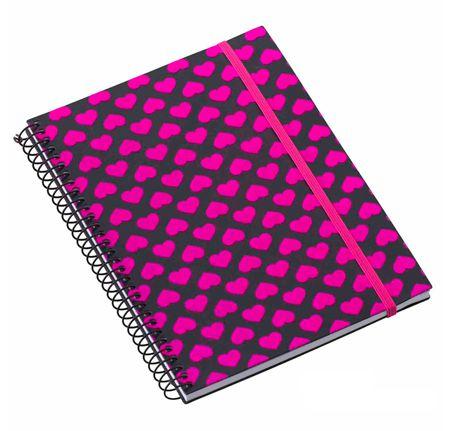 Caderno Médio 96 Folhas Corações Glitter Preto