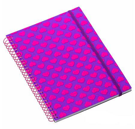 Caderno Médio 96 Folhas Corações Glitter Roxo