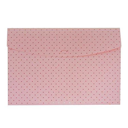 Pasta Envelope Poá Rosa Bebê