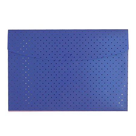 Pasta Envelope Poá Azul Marinho
