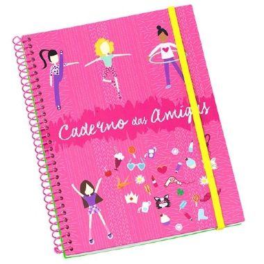 Caderno Amigas 96 Folhas Rosa