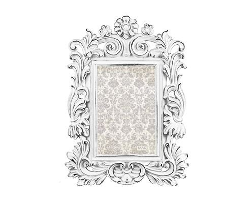 Porta Retrato Chic Branco Flor