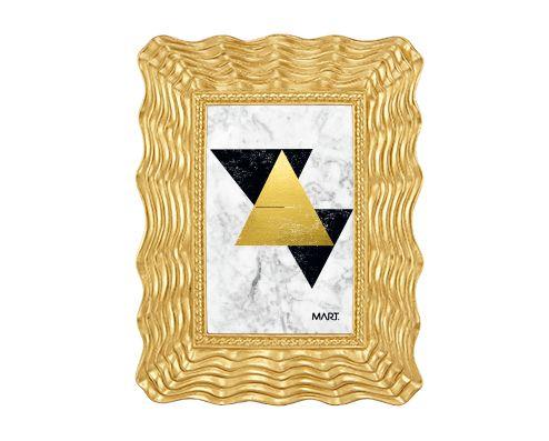 Porta Retrato Ondas Dourado em Poliresina