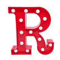 Luminária Letra R Vermelha