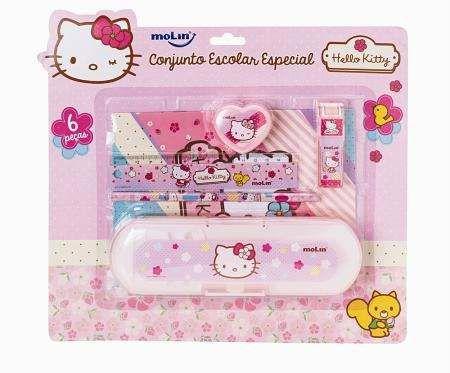 Kit Escolar 6 Peças Hello Kitty