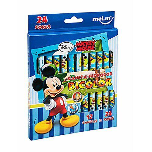 Caneta Hidrocor Bicolor 12 Canetas 24 Cores Mickey Mouse