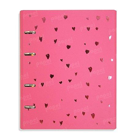 Caderno Fichário Corações Rosa