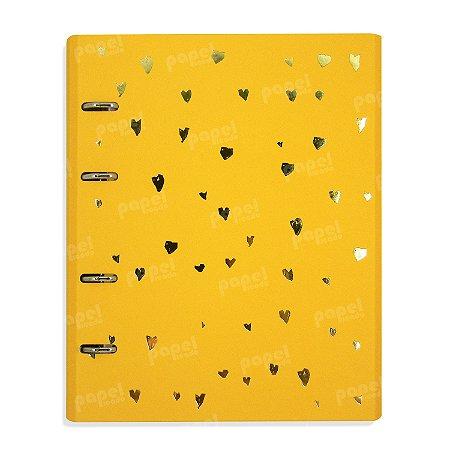Caderno Fichário Corações Amarelo