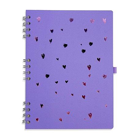 Caderno Espiral Corações Lilás