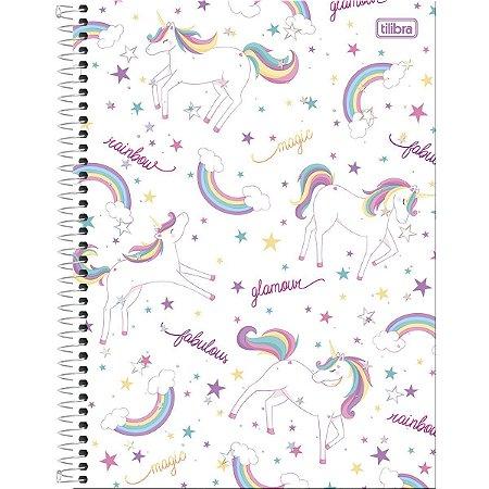 Caderno 160 Folhas Unicórnio Branco