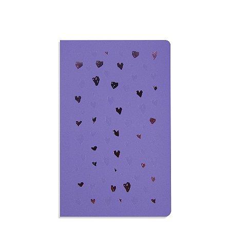 Caderno Flexível Corações Lilás Pontilhado
