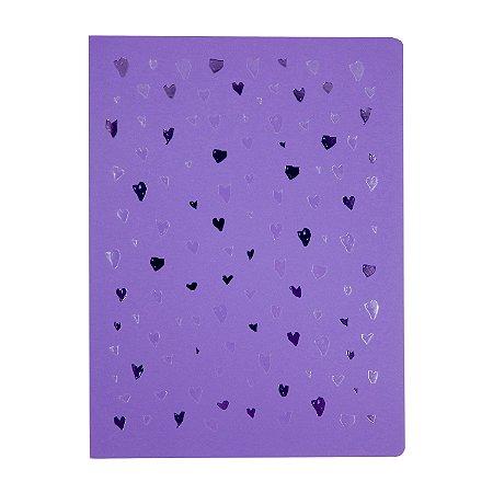 Caderno Flexível Corações Lilás Pontilhado Grande