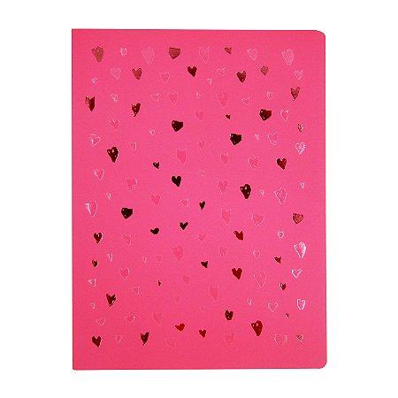 Caderno Flexível Corações Rosa Pontilhado Grande
