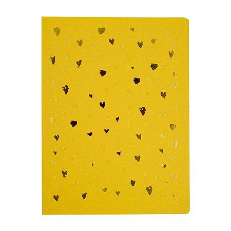 Caderno Flexível Corações Amarelo Pontilhado Grande