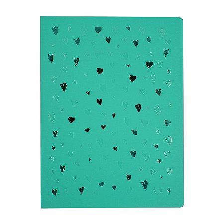 Caderno Flexível Corações AzulPontilhado Grande