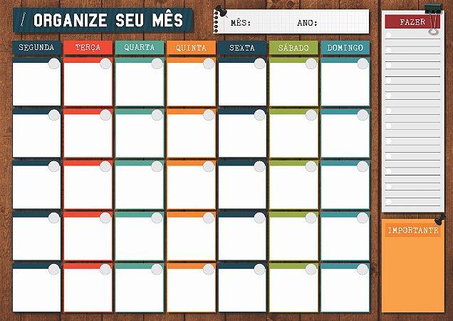 Planner Mensal em Bloco Organize seu Mês