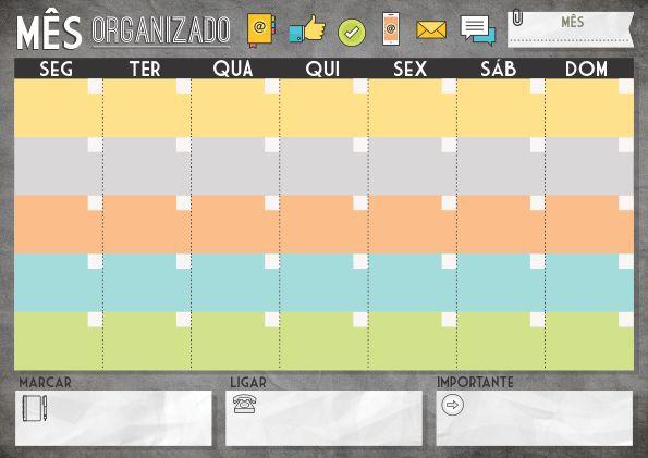 Planner Mensal em Bloco Mês ícones Digitais