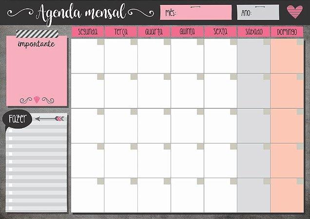 Planner Mensal em Bloco Romântico