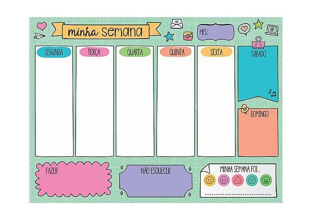 planner semanal em bloco divertido papelaria papel picado