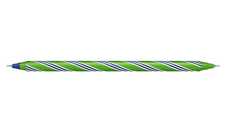 Caneta duas Pontas Verde/Azul