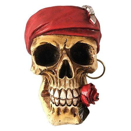 Caveira Pirata com Rosa