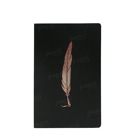 Caderno Flexível Pena Bronze Pautado Pequeno