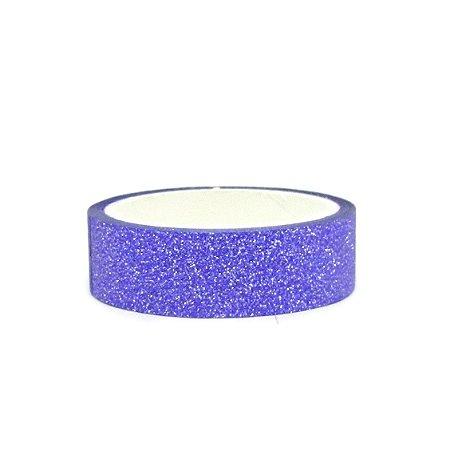Fita Adesiva Washi Tape Glitter Azul