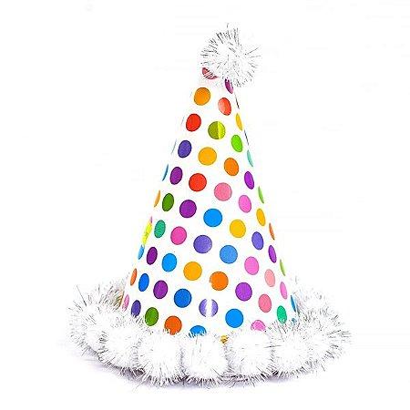 Chapéu de Aniversário Pompom Branco