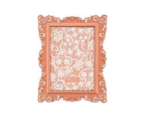 Porta Retrato Laranja Borda Flor 10x15cm