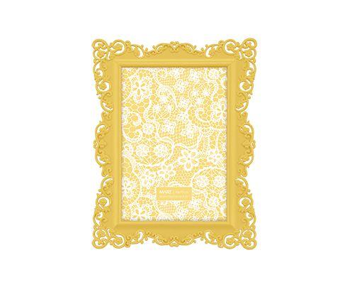 Porta Retrato Amarelo Borda Flor 10x15cm