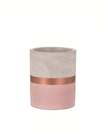 Porta Treco de Cimento Rosa e Cobre