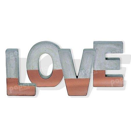 Enfeite Love Cinza e Cobre