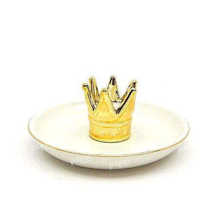 Porta Anel Coroa Dourada
