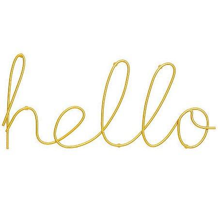 Letreiro Hello Dourado