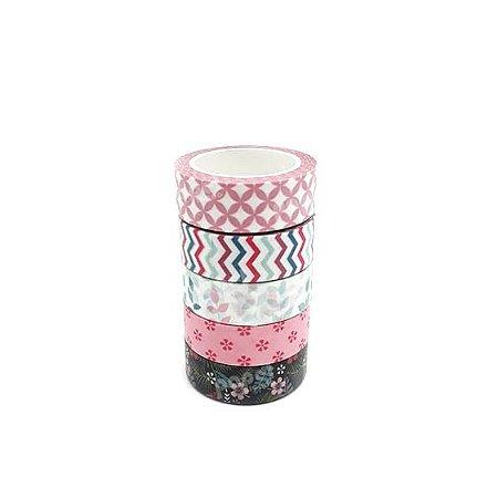 Fita Adesiva Washi Tape Flores e Texturas