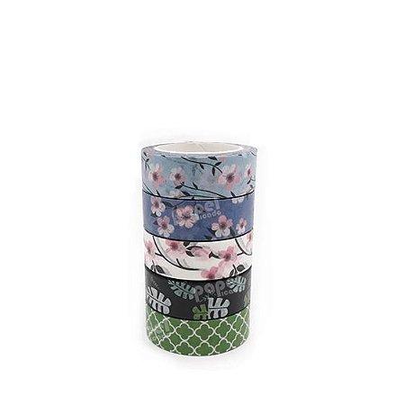 Fita Adesiva Washi Tape Flores e Folhas