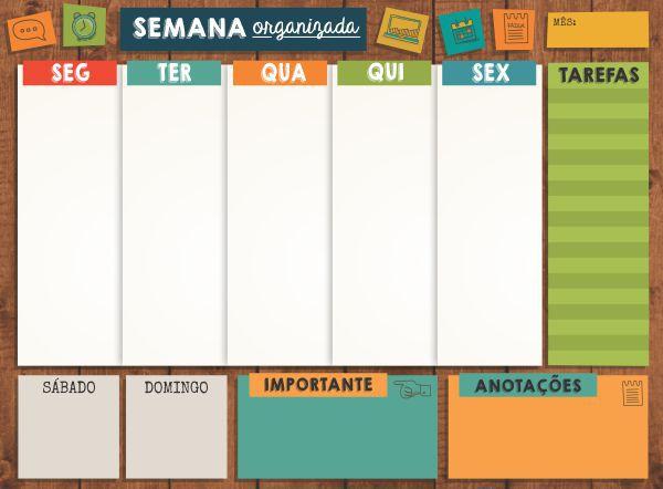 Planner Semanal em Bloco Organize sua Semana