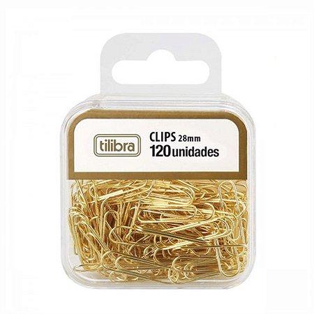 Clips Dourados 28mm 120 unidades